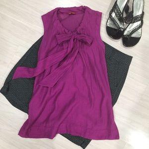Magenta purple  tie neck office top